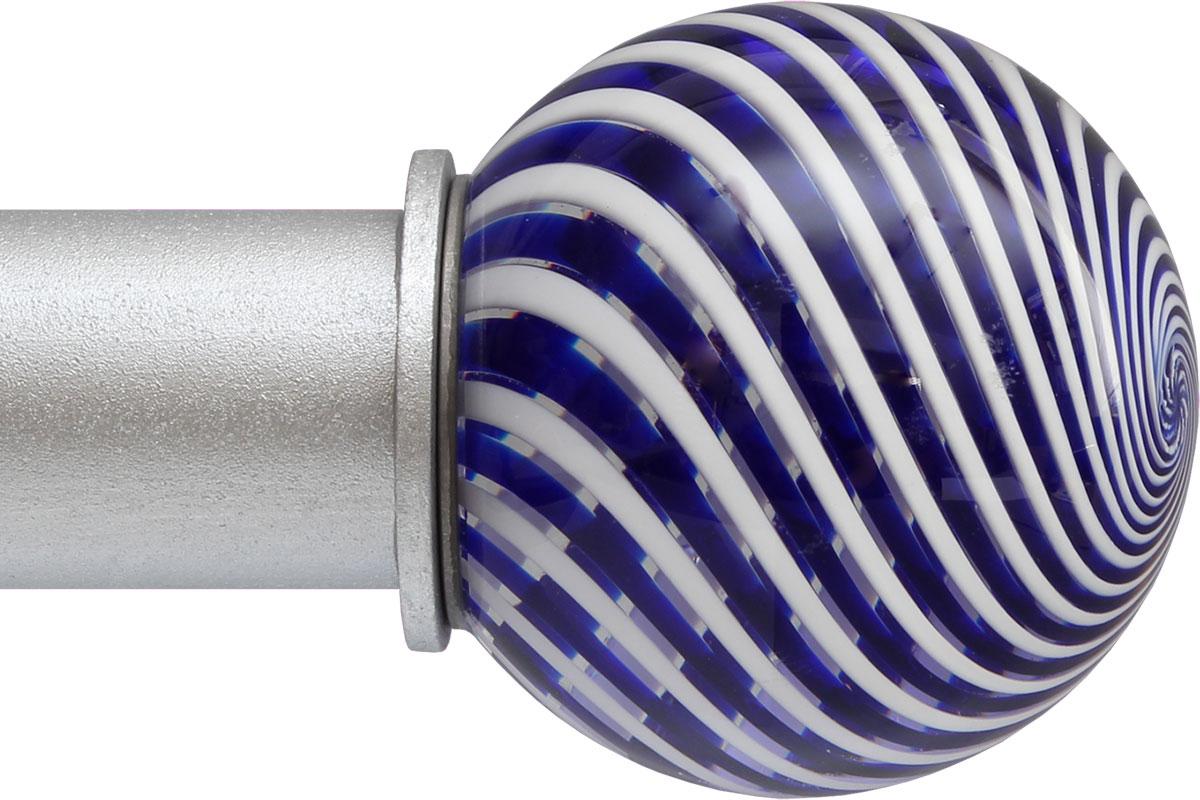 Blue Swirl Ball ArtGlass finial