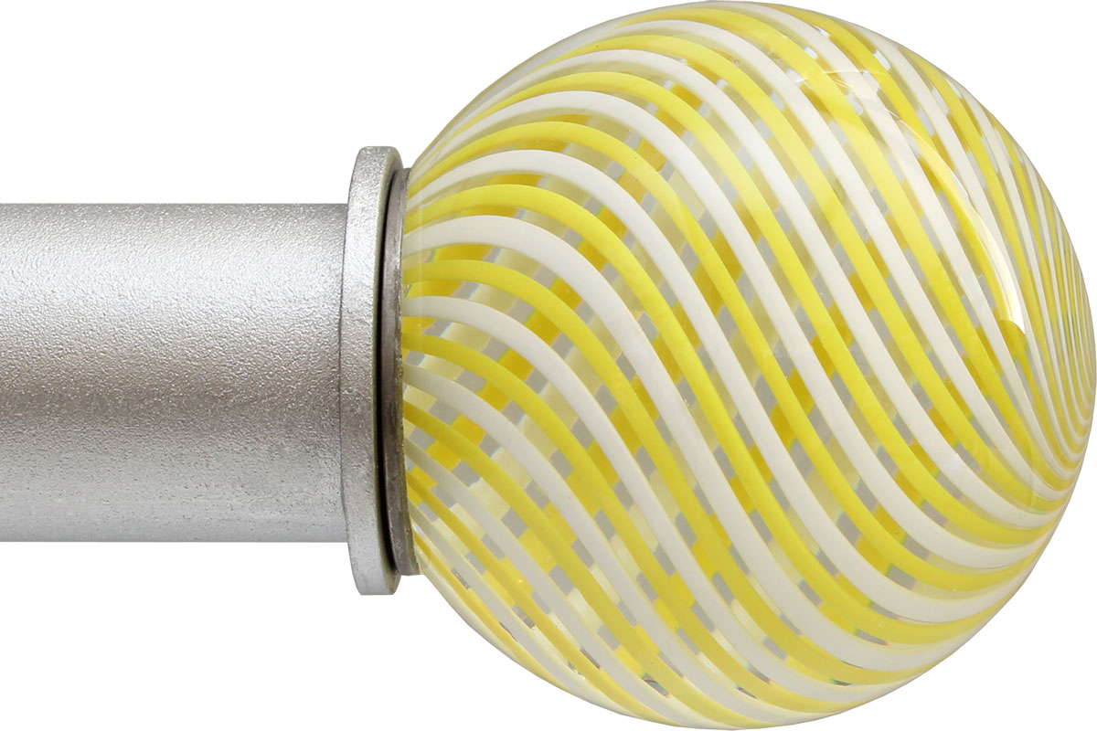 Yellow Swirl Ball ArtGlass finial
