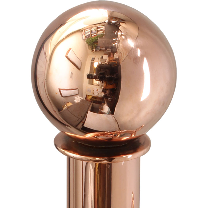 Polished Copper finish on ball finial
