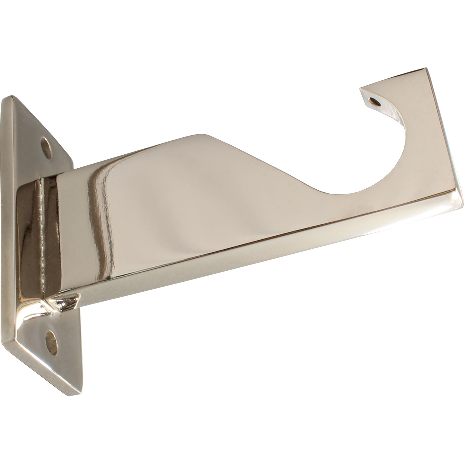 Polished Nickel finish on bracket