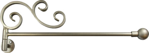 Window Crane with Shangri-La Scroll, Ball finial, and Brushed Nickel finish